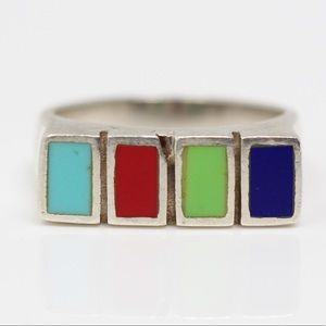 Jewelry - Sterling Silver Colored Blocks Flat Top Ring 5.75